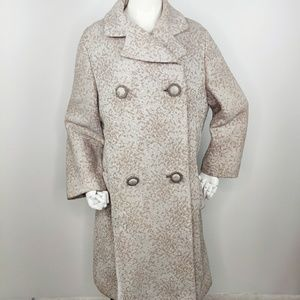 Vintage 60s Double Breasted Taupe Brocade Coat M